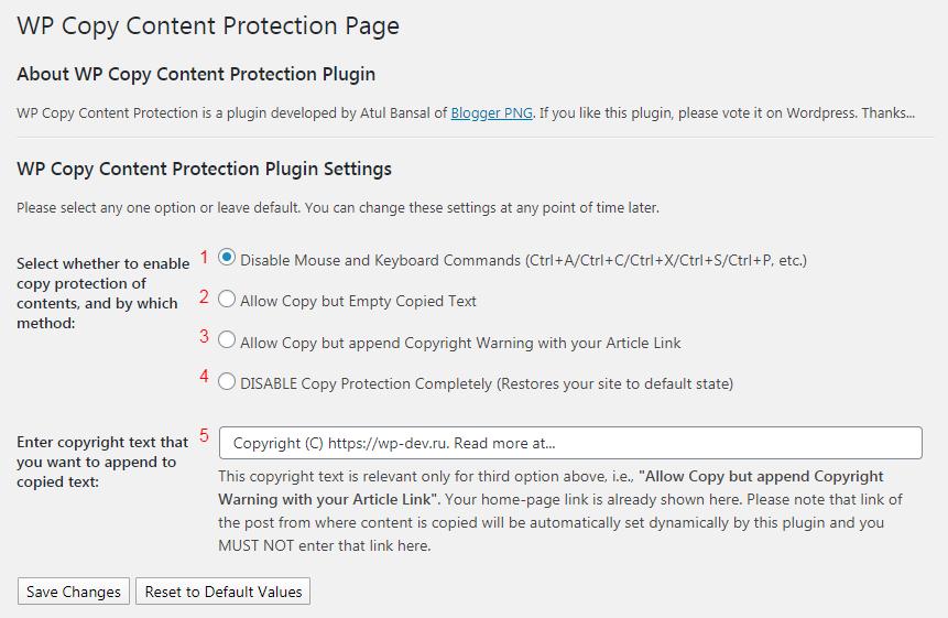 Настройки WP Copy Content Protection